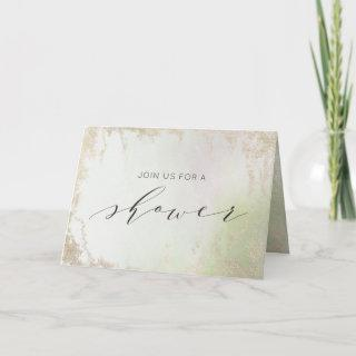 Ombre Spring Green Gold Couple's Wedding Shower Invitation