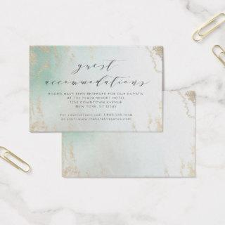 Ombre Teal Aqua Frosted Accommodations Insert Card