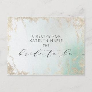 Ombre Teal Aqua Frosted Bride to Be Recipe Card