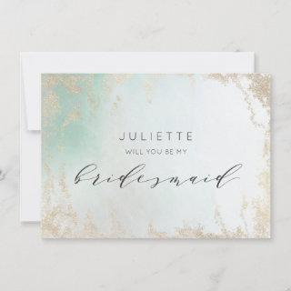 Ombre Teal Aqua Frosted Bridesmaid Proposal Card