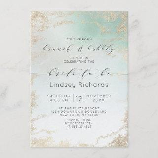 Ombre Teal Aqua Frosted Brunch & Bubbly Shower Invitations