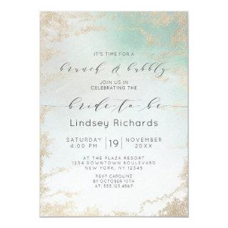 Ombre Teal Aqua Frosted Brunch & Bubbly Shower Invitation