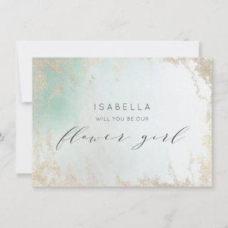 Ombre Teal Aqua Frosted Flower Girl Proposal Card