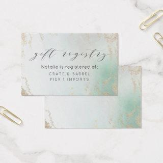 Ombre Teal Aqua Frosted Gift Registry Insert Card