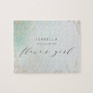 Ombre Teal Aqua Frosted Gold Flower Girl Proposal Jigsaw Puzzle