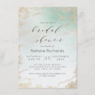 Ombre Teal Aqua Frosted Gold Foil Bridal Shower Invitations