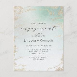 Ombre Teal Aqua Frosted Gold Foil Engagement Party Invitations