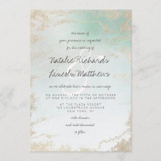 Ombre Teal Aqua Frosted Gold Foil Luxury Wedding Invitation