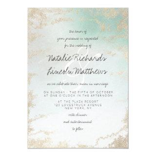 Ombre Teal Aqua Frosted Gold Foil Luxury Wedding Invitations