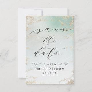 Ombre Teal Aqua Frosted Gold Foil Luxury Wedding Save The Date