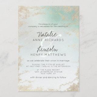 Ombre Teal Aqua Frosted Gold Foil Modern Wedding Invitation