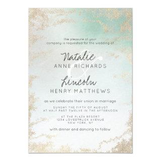 Ombre Teal Aqua Frosted Gold Foil Modern Wedding Invitations