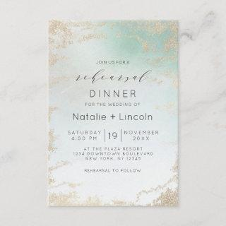 Ombre Teal Aqua Frosted Gold Foil Rehearsal Dinner Invitations