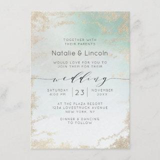 Ombre Teal Aqua Frosted Gold Foil Trendy Wedding Invitations