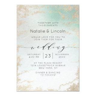 Ombre Teal Aqua Frosted Gold Foil Trendy Wedding Invitation