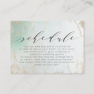 Ombre Teal Aqua Frosted Gold Foil Wedding Schedule Enclosure Card
