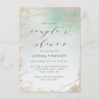 Ombre Teal Aqua Frosted Gold Foil Wedding Shower Invitations