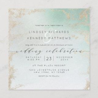 Ombre Teal Aqua Frosted Gold Foil Wedding Square Invitations