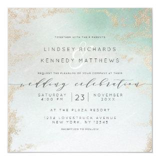 Ombre Teal Aqua Frosted Gold Foil Wedding Square Invitation