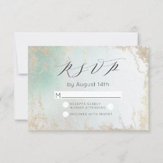 Ombre Teal Aqua Frosted Gold Watercolor Wedding RSVP Card