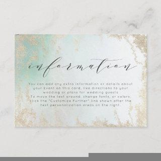 Ombre Teal Aqua Frosted Gold Wedding Information Enclosure Card