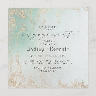 Ombre Teal Aqua Frosted Square Engagement Party Invitations