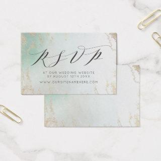 Ombre Teal Aqua Frosted Website RSVP Insert Cards