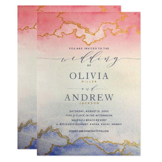 Ombre Watercolor Wedding Pink and Blue Invitation
