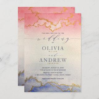 Ombre Watercolor Wedding Pink and Blue Invitations