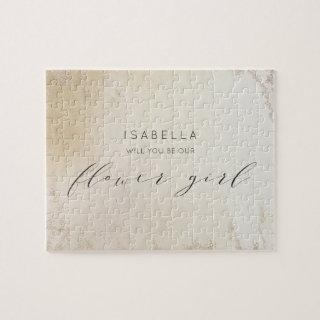 Ombre Yellow Gold Frosted Flower Girl Proposal Jigsaw Puzzle