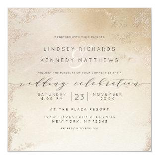 Ombre Yellow Gold Frosted Foil Luxe Wedding Square Invitation