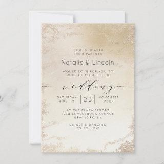 Ombre Yellow Gold Frosted Foil Watercolor Wedding Invitation