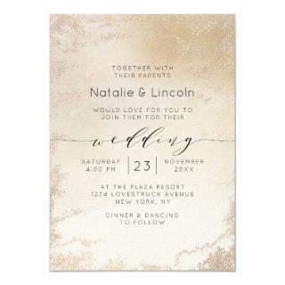 Ombre Yellow Gold Frosted Foil Watercolor Wedding Invitations