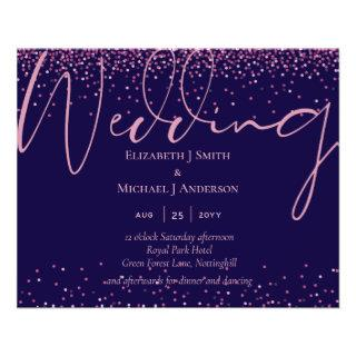 ON SALE! Navy Blue Rose Gold Wedding Invite FLYERS