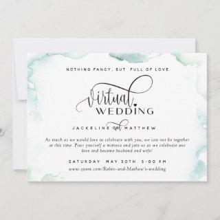 Online Virtual Wedding, Elegant Watercolor Stains Save The Date