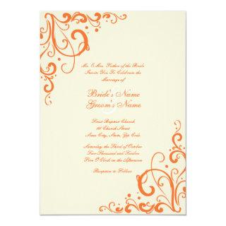 Orange and Cream Flourish Wedding Invitations