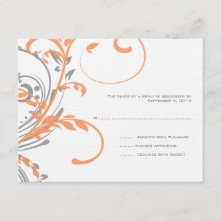 Orange and Gray Double Floral Wedding RSVP