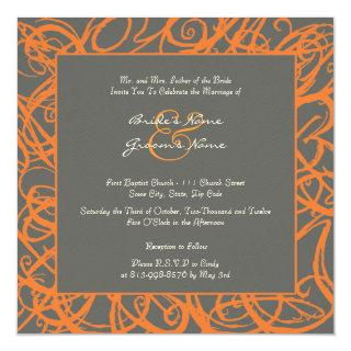 Orange and Gray Sketchy Frame Wedding Invitations
