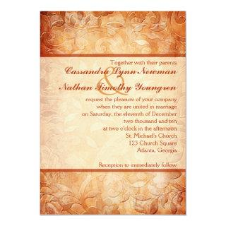 Orange and Ivory Floral Wedding Invitations