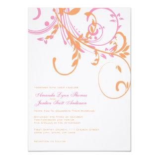 Orange and Pink Double Floral Wedding Invitations