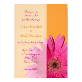 Orange and Pink Gerbera Daisy Wedding Invitations