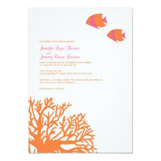 Orange and Pink Tropical Coral Wedding Invitation