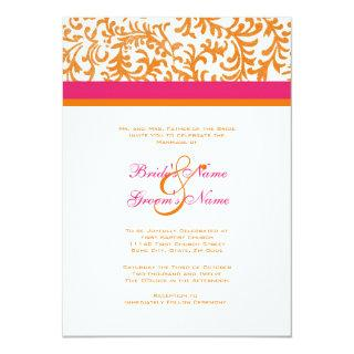 Orange and Pink Wedding Invitation