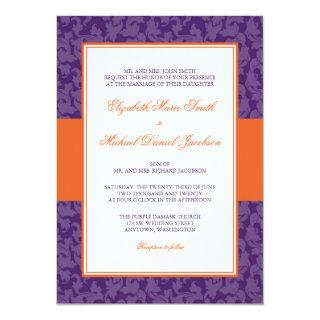 Orange and Purple Damask Swirl Wedding Invitation