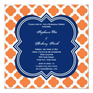 Orange and Royal Blue Quatrefoil Rehearsal Dinner Invitations
