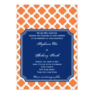 Orange and Royal Blue Quatrefoil Wedding Invitation