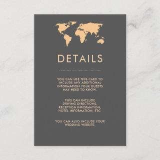 Orange and Smoky Gray World Map Guest Details Enclosure Card