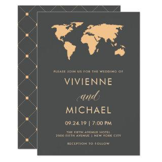 Orange and Smoky Gray World Map Wedding Invitation
