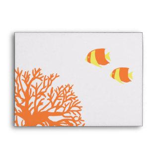 Orange and Yellow Tropical Coral Envelope
