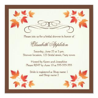 Orange autumn leaves elegant fall bridal shower invitation